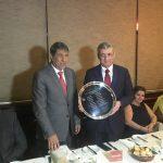 Embaixadores da Palestina, Ibrahim Alzeben (esq.), e da Liga Árabe, Nacer Alem