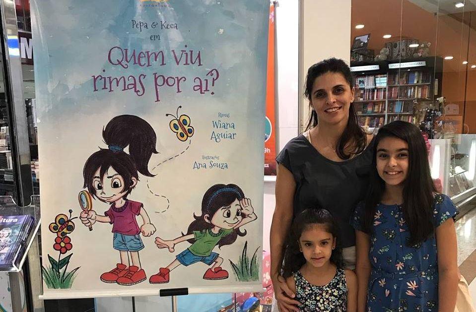 Wiana, autora das rimas, e suas filhas