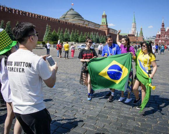 Brasileiros em Moscou durante a Copa do Mundo