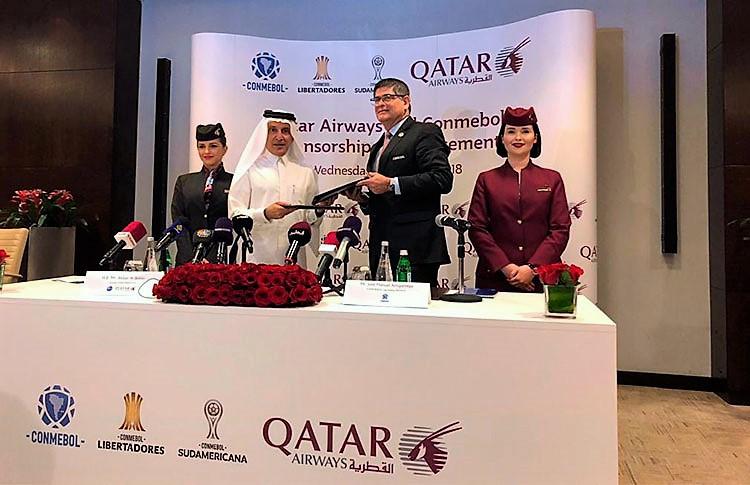 Assinatura do acordo entre a Qatar Aiways e a Conmebol