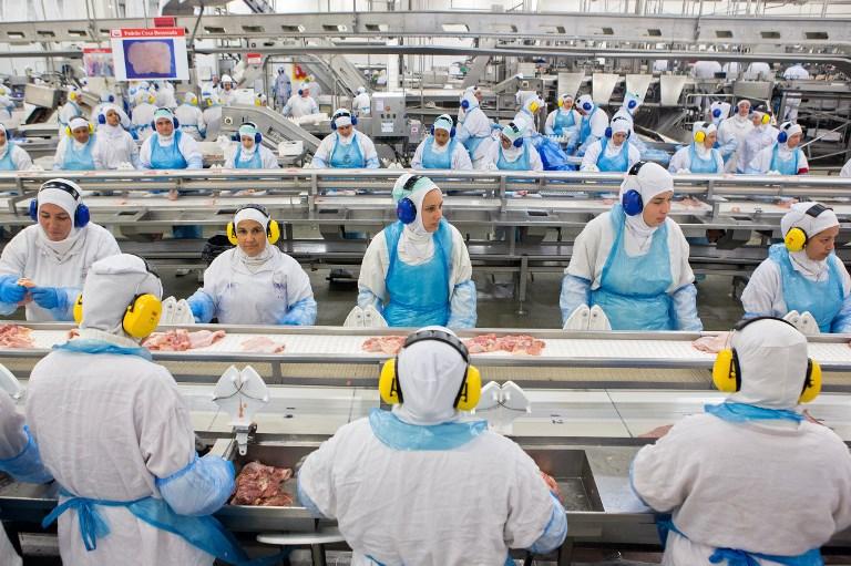 Produção de carne de frango em frigorífico brasileiro
