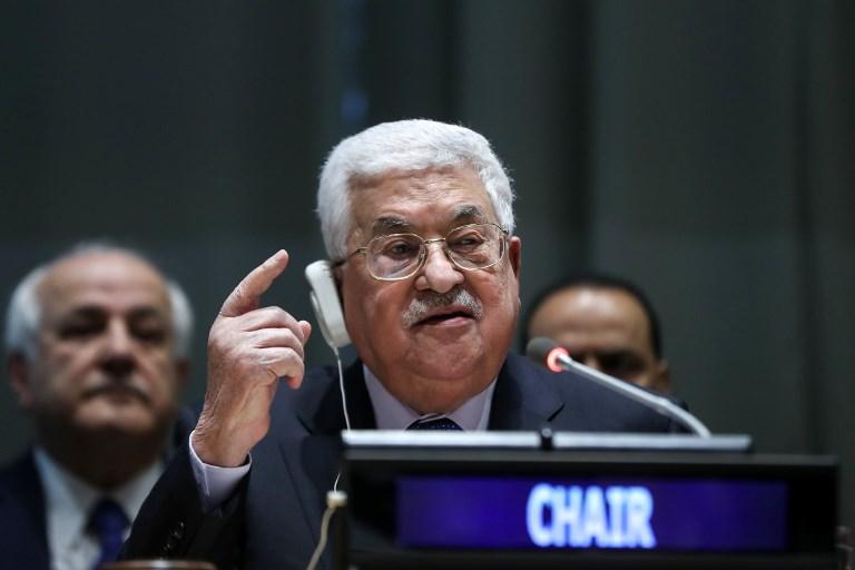 O presidente da Palestina, Mahmoud Abbas, ao assumir a presidência do G77