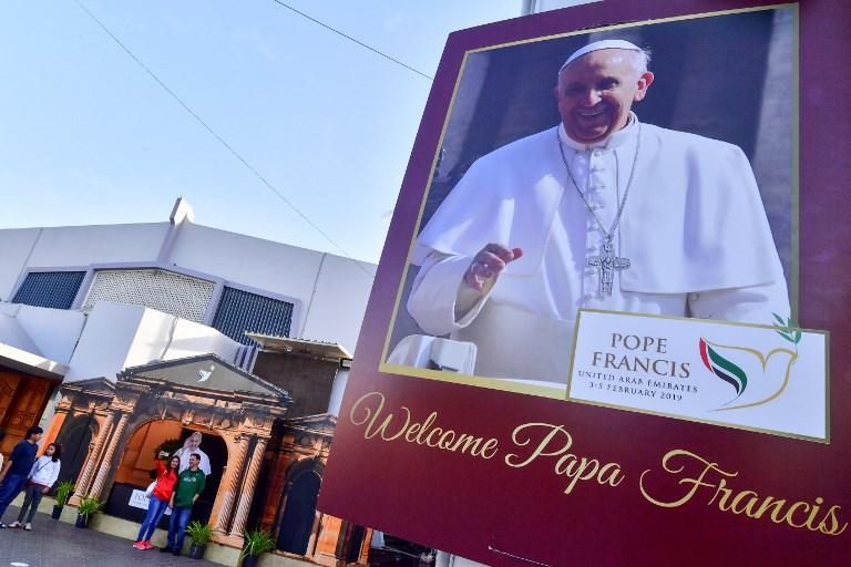 Mensagem de boas-vindas ao Papa Francisco em Dubai