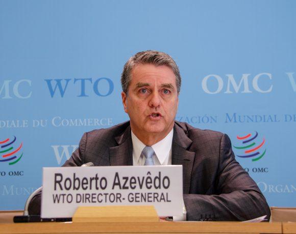 Roberto Azevêdo, diretor da OMC, fala do desempenho do comércio internacional