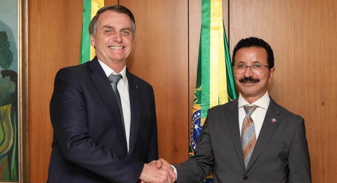 Bolsonaro (esq.) se reuniu com Sulayem, da DP World