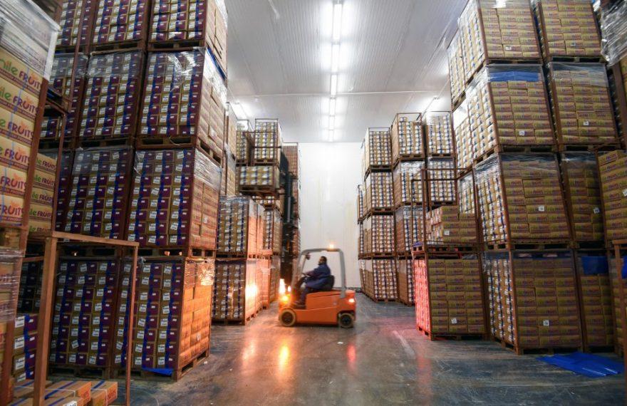 Bens de capital: trabalhador opera empilhadeira em fábrica no Egito