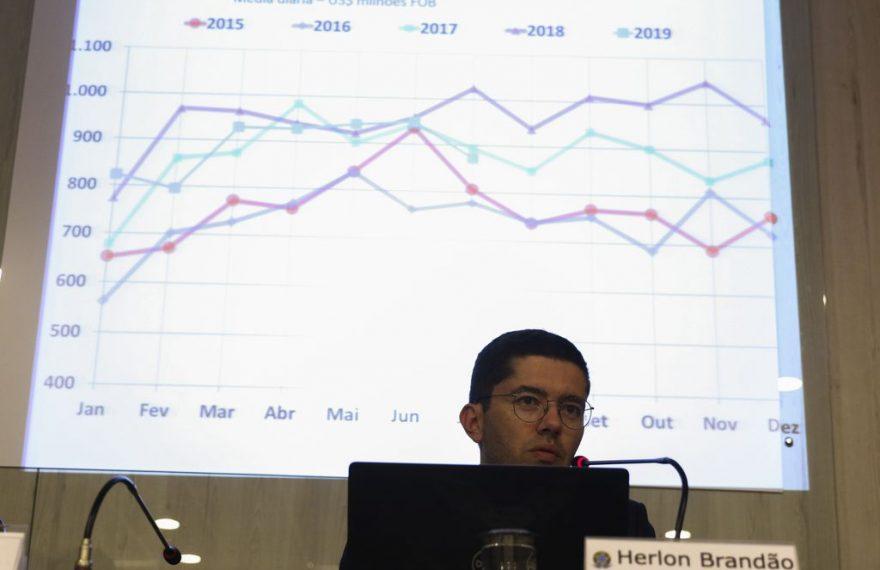 O subsecretário de Inteligência e Estatísticas de Comércio Exterior do Ministério da Economia, Herlon Brandão, fala sobre o saldo comercial