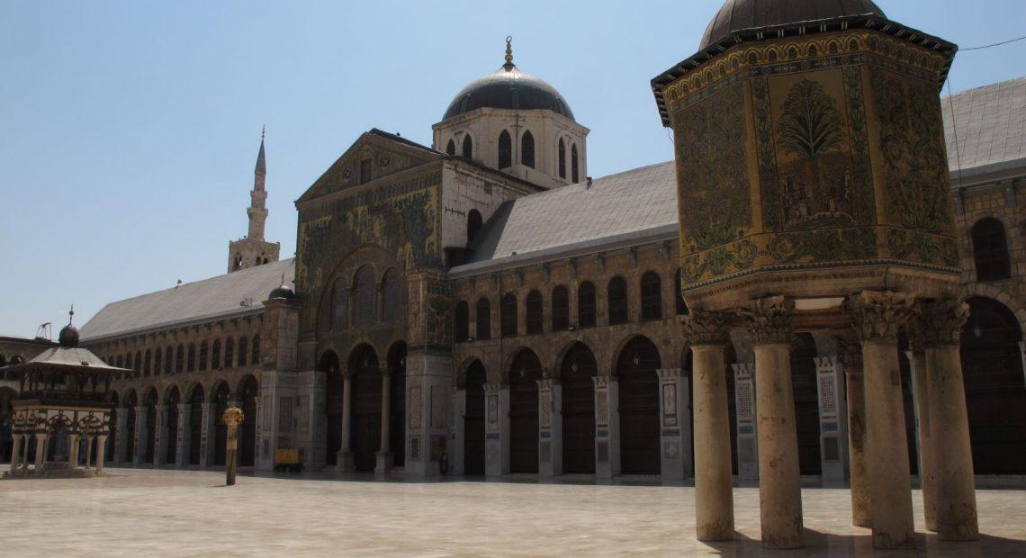A Mesquita Omíada, na Cidade Antiga de Damasco, na Síria