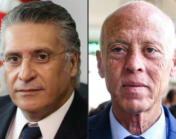 Nabil Karoui (esq.) e Kais Saïd vão para o segundo turno da eleição na Tunísia