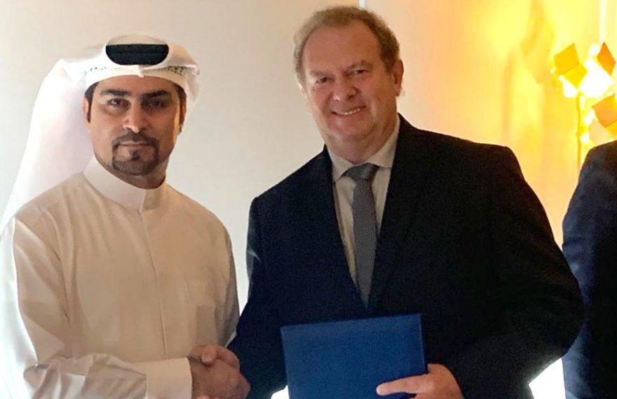 Fahad Al Gergawi (esq.), da Dubai FDI, e o governador de Tocantins, Mauro Carlesse
