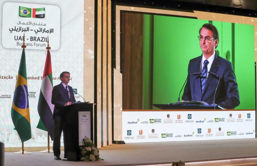 Presidente Bolsonaro fala em seminário em Abu Dhabi, nos Emirados