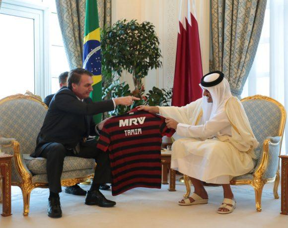 Bolsonaro e o emir do Catar, Tamim Bin Hamad Al Thani