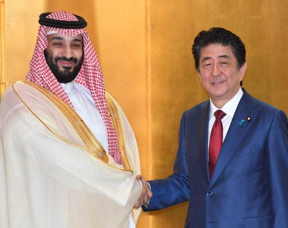 Mohammed Bin Salman e Shinzo Abe na reunião do G20 em Osaka